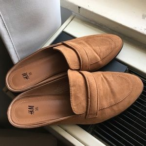 H&M Tan Backless Loafers
